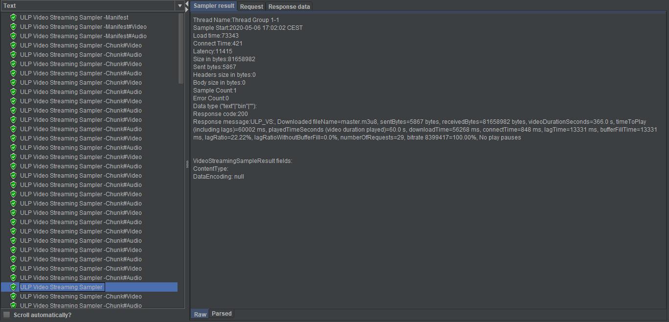 UbikLoadPack streaming plugin Low Latency dash metrics
