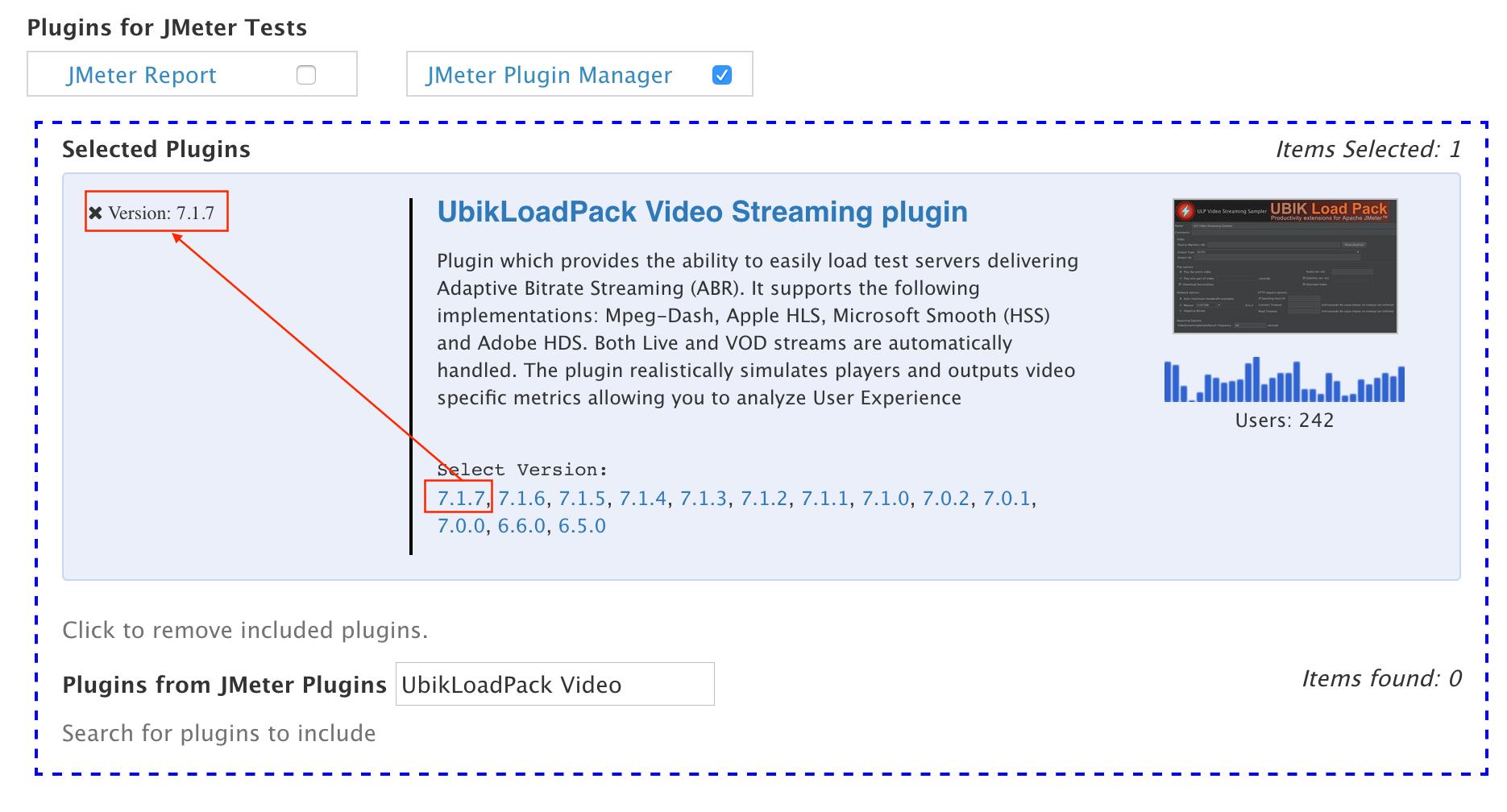 Select plugin version for JMeter test