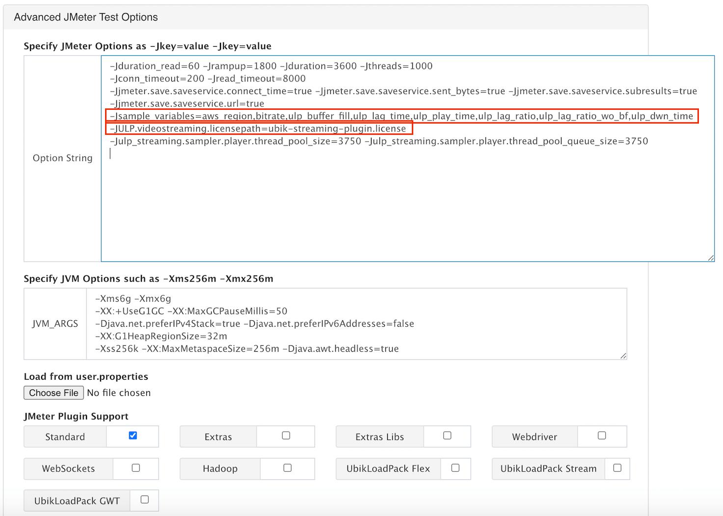 advances JMeter test options