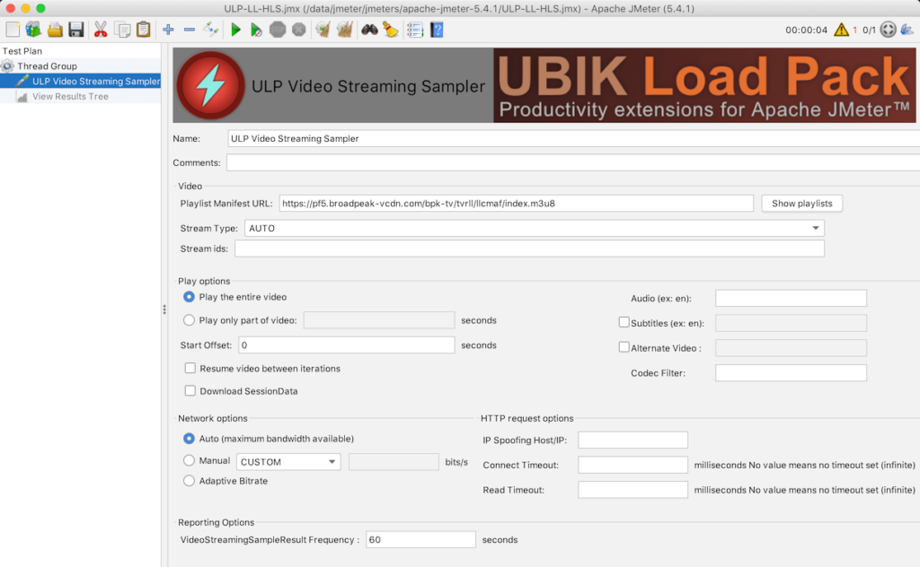 Video Sampler with Low Latency Http Live Streaming URL